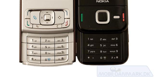 Her ses de nummeriske knapper på henholdsvis Nokia N95 og N85