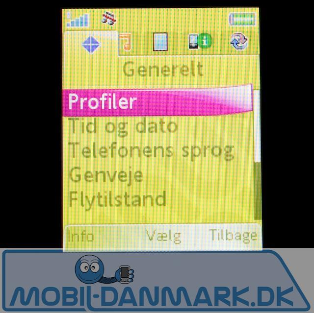 Indstillingsmenuen - kendt fra andre SE-telefoner