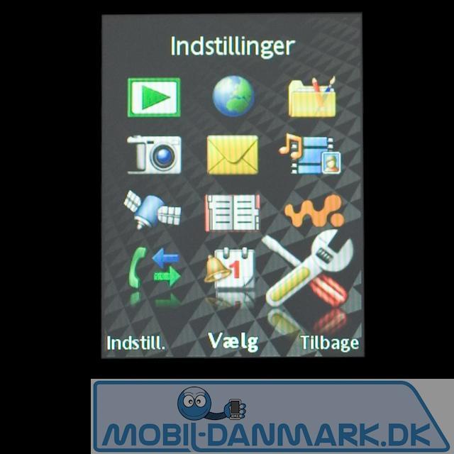 Den velkendte Sony Ericsson-menu