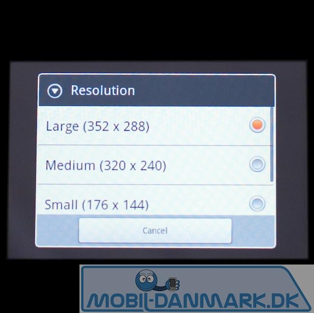 Videoopløsningen - bemærk det skæve format