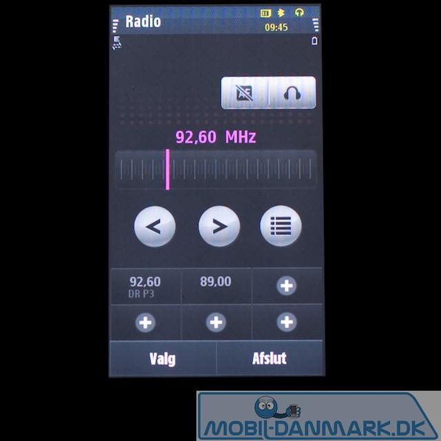 Radiomenuen med 6 faste kanaler