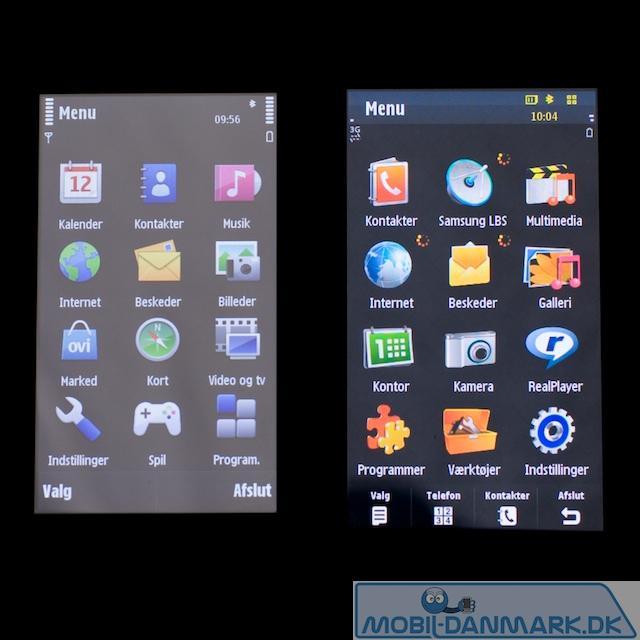 Nokia N97s skærm ved siden af Omnia HDs