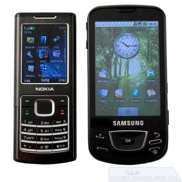 Galaxy ved siden af Nokia 6500 Classic