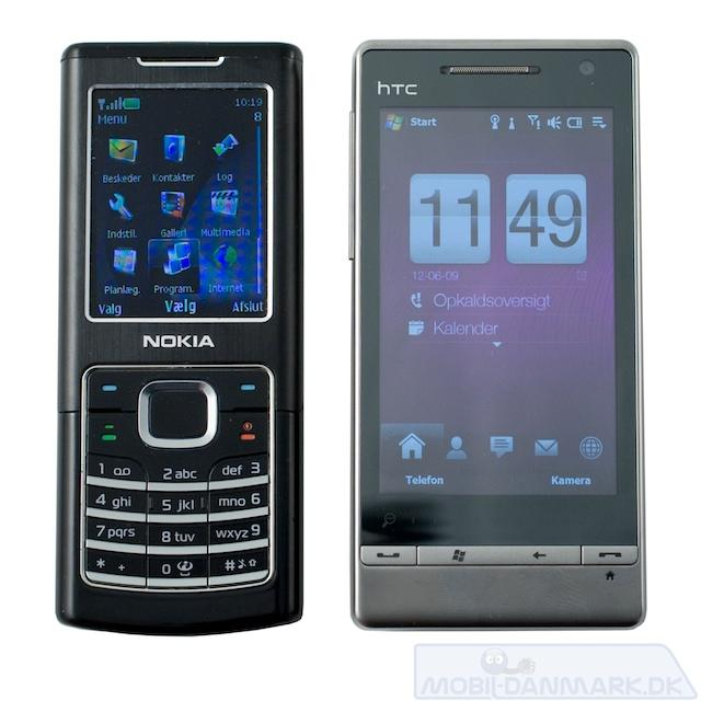 Diamond 2 ved siden af Nokia 6500 Classic