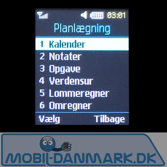 Planlægningsmenu - med kalender lommeregner mv.