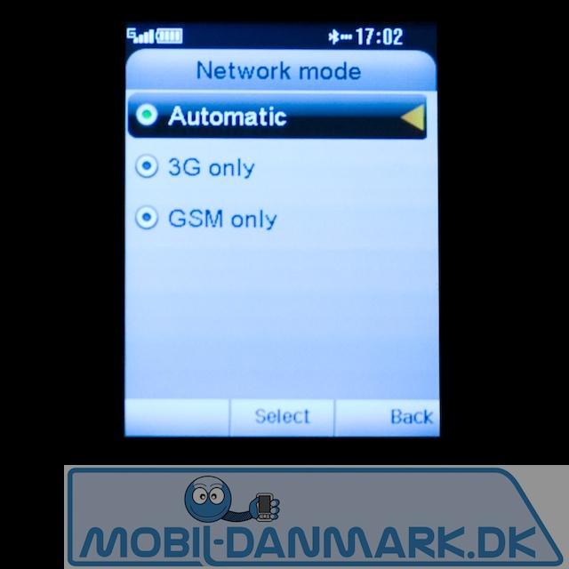 Valg af netværk - bemærk 3G