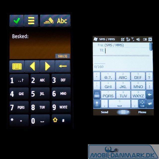 Her ses Omnia HD nummeriske tastatur i forhold touch2s