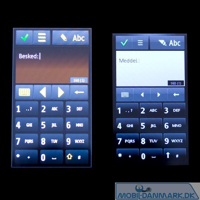 Omnias skærm til venstre og Satios til højre