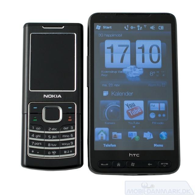 HD2 ved siden af Nokia 6500 Classic