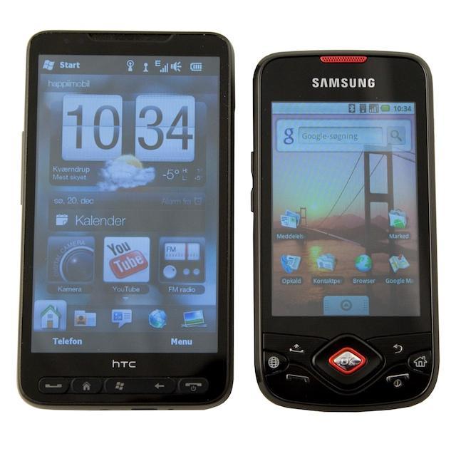 Spica er i mellemstørrelsen - her med HTC HD2