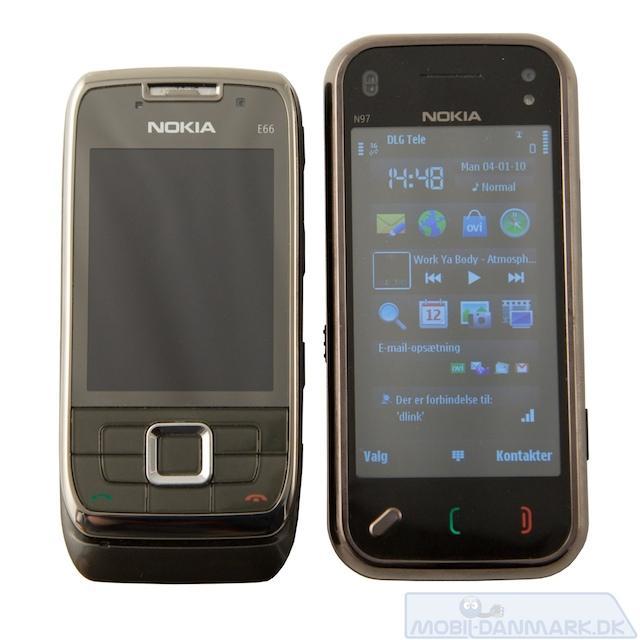 Businessmobilen Nokia E66 ved siden af N97 mini