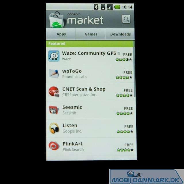 Hovedmenuen i Marketplace