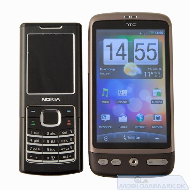 Nokia 6500 Classic ved siden af Desire