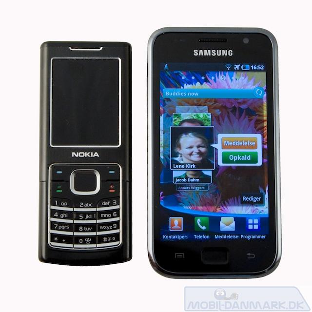 Nokia 6500 Classic ved siden af Galaxy S