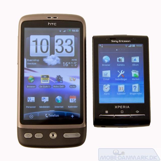 HTC Desires skærm er 2 gange større en x10 mini