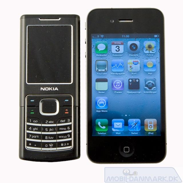 Nokia 6500 Classic ved siden af Iphone 4