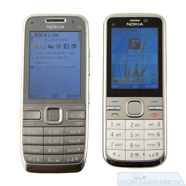 Nokia E52 ved siden af C5