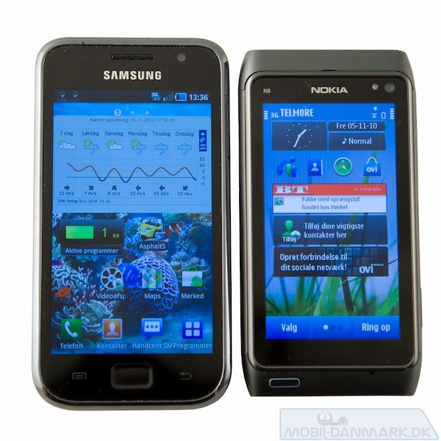 Samsung Galaxy S ved siden af N8