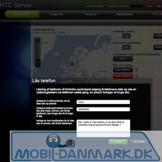 Remote låsning af mobilen