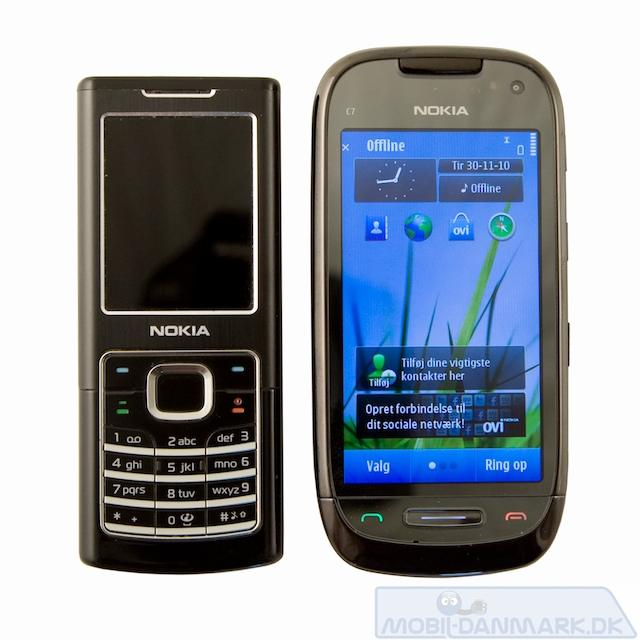 Nokia 6500 ved siden af C7