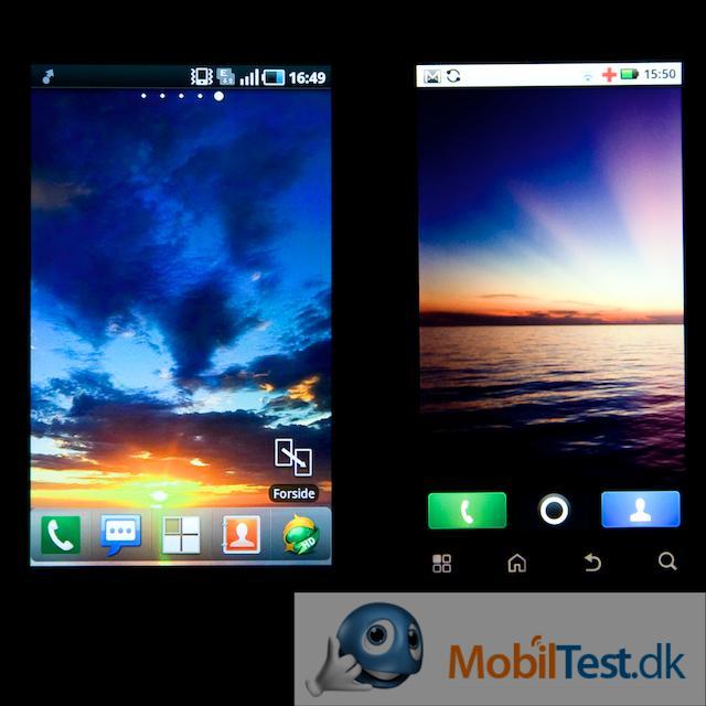 Galaxy S' v. DEFYs skærm