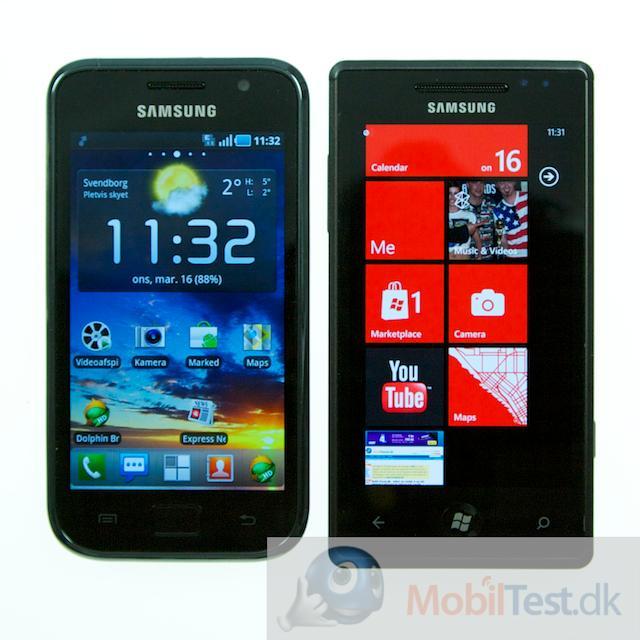 Samsung Galaxy S ved siden af Omnia 7