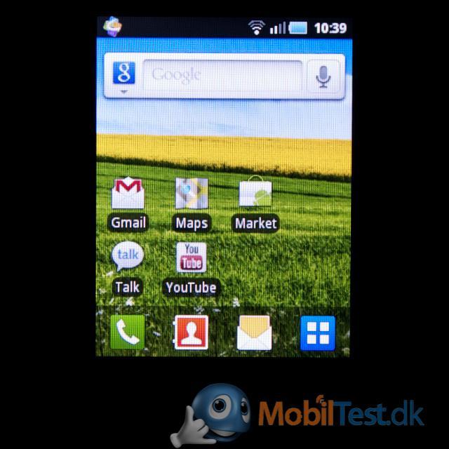 Homescreen med widgets og genveje