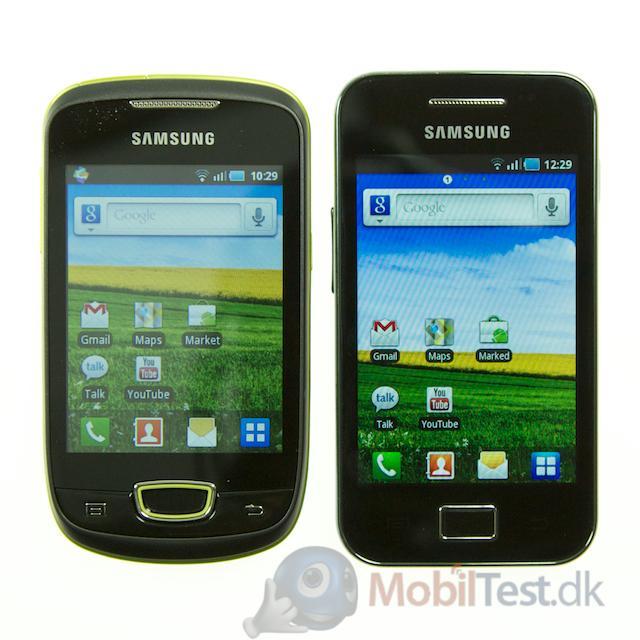 Galaxy Mini ved siden af Galaxy Ace