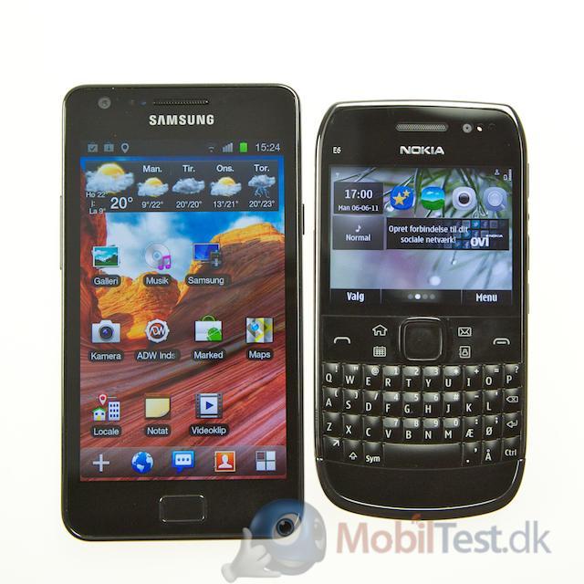 Samsung Galaxy S2 ved siden af E6