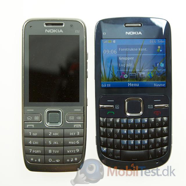 C3 ved siden af Nokia E52