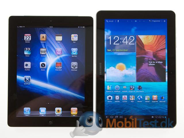 Galaxy Tab ved siden af iPad 2