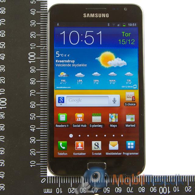 Galaxy Note med målevinklen