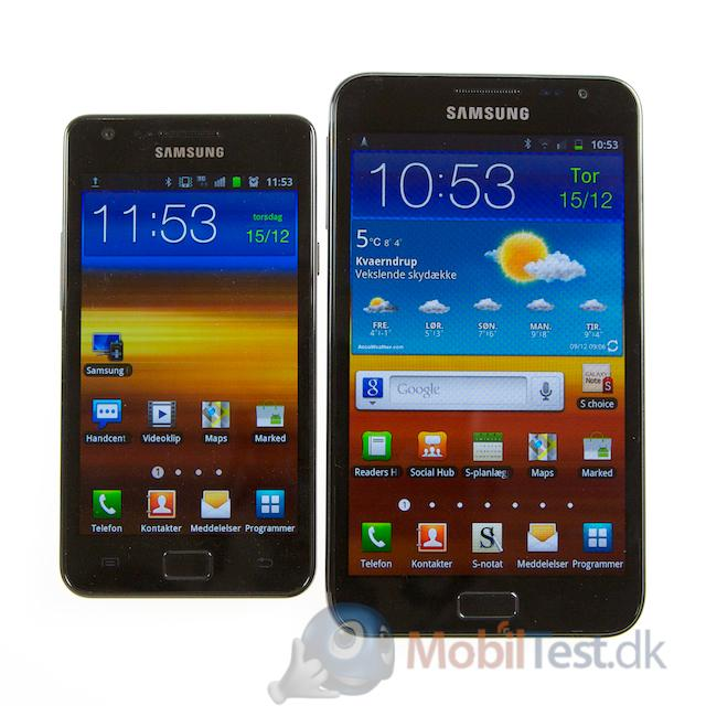 Samsung Galaxy SII ved siden af Galaxy Note