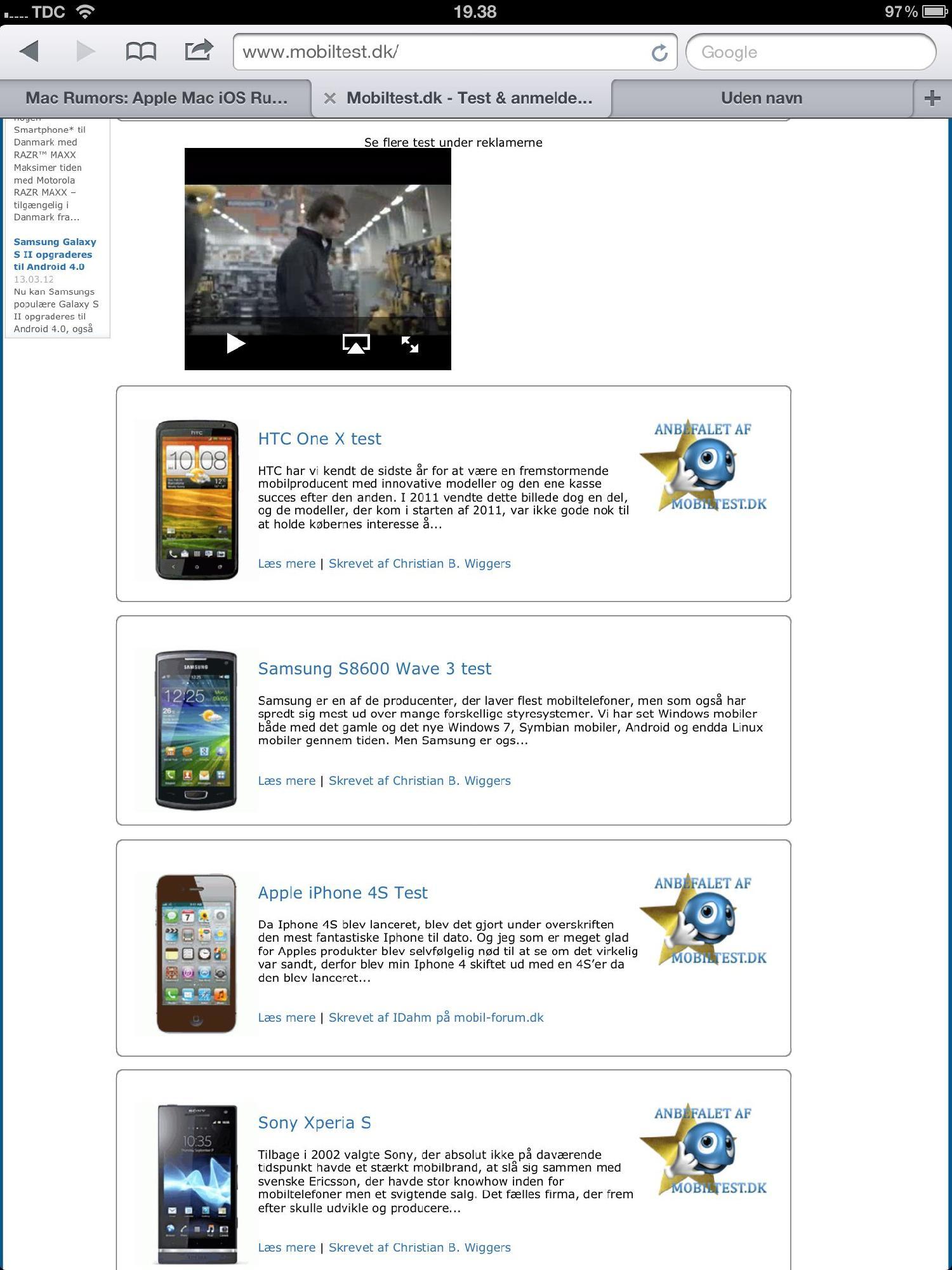 Mobiltest.dk hvor reklamer også kan afspilles