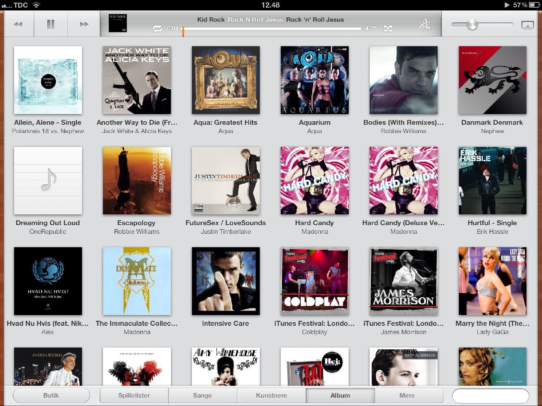 Albumoversigt i iPaddens musikafspiller