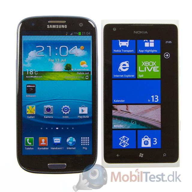 Galaxy S3 ved siden af Lumia 900