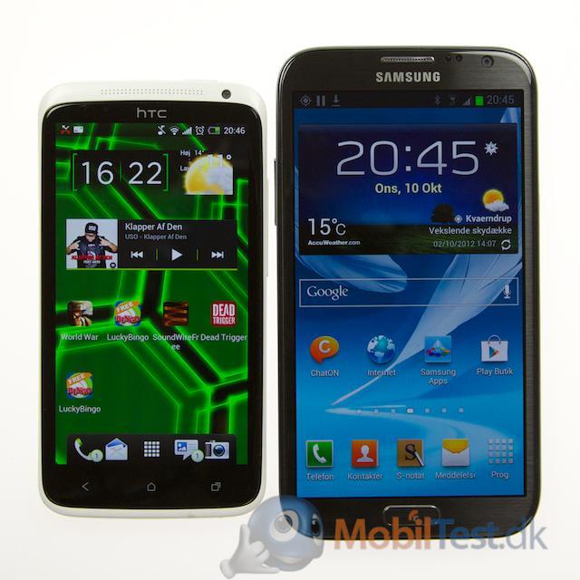 Note 2 ved siden af HTC One X