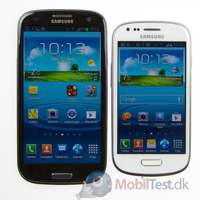 Galaxy S3 ved siden af S3 Mini