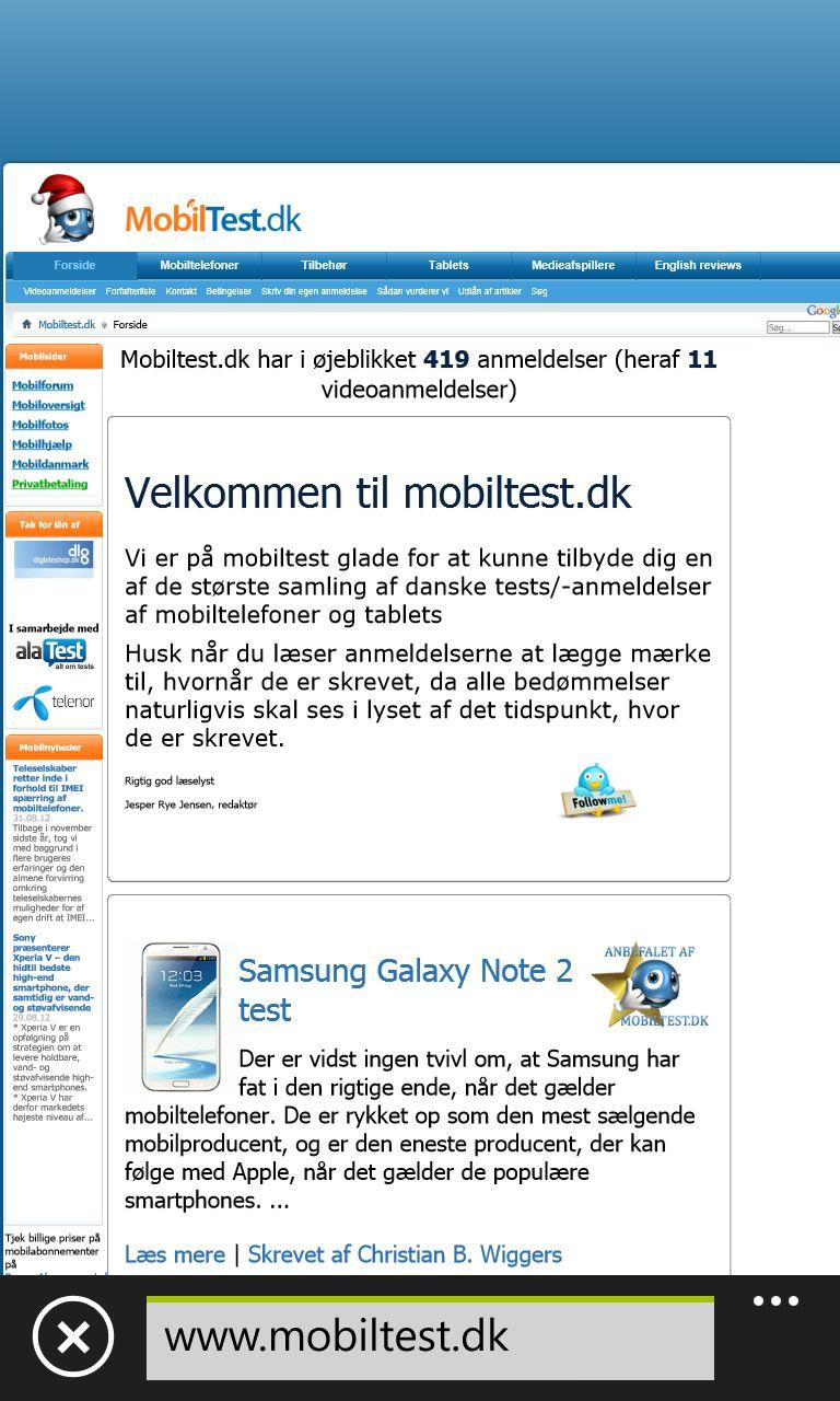 Mobiltest i desktopversion