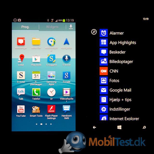 App-oversigten sammen med Galaxy S3