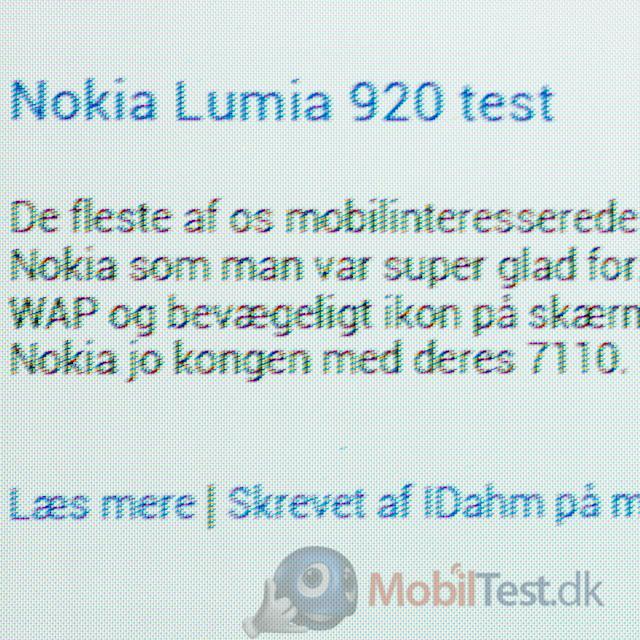 Galaxy S3 med zoomet tekst