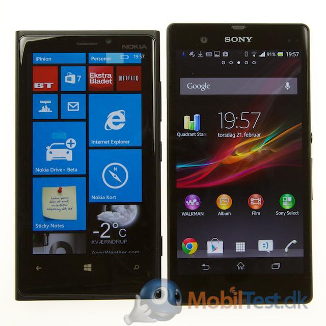 Lumia 920 og Xperia Z