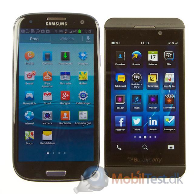 Galaxy S3 ved siden af Z10