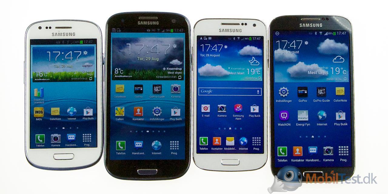 S3 Mini, Galaxy S3, S4 Mini og Galaxy s4