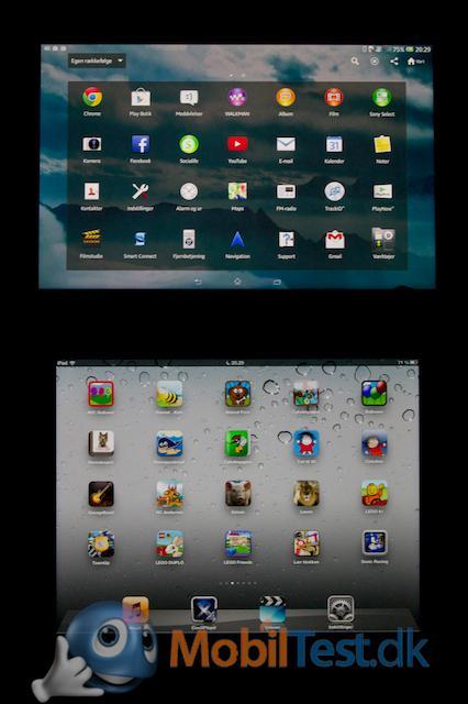 Menuen på Xperia Tablet Z og iPad