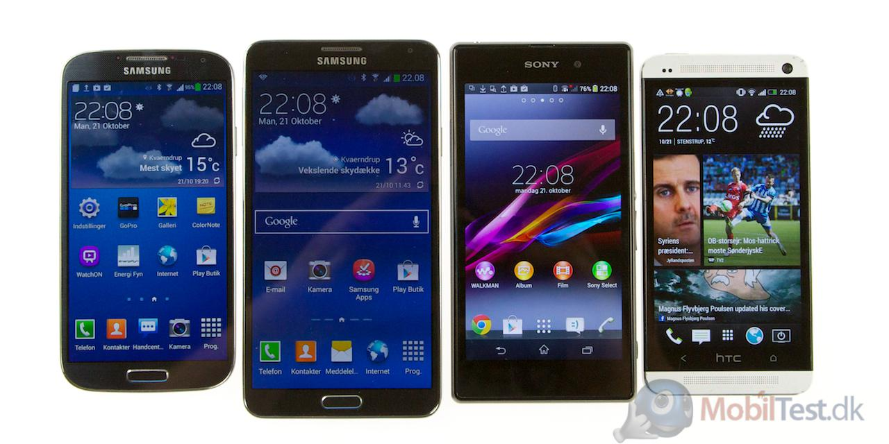 S4, Note 3, Xperia Z1 og HTC One