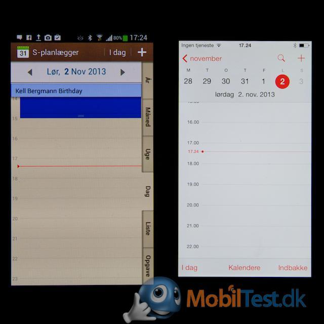 Kalender på de to mobiler