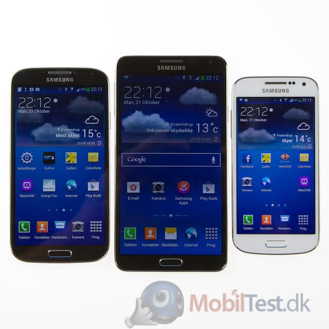 3 størrelser Galaxy-mobiler