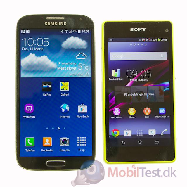 Galaxy S4 og Xperia Z1 Compact