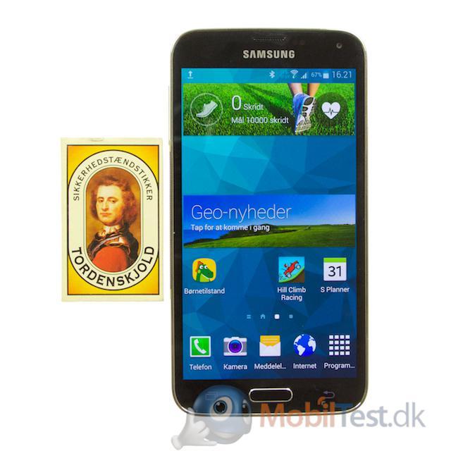Galaxy S5 med tændstikæsken